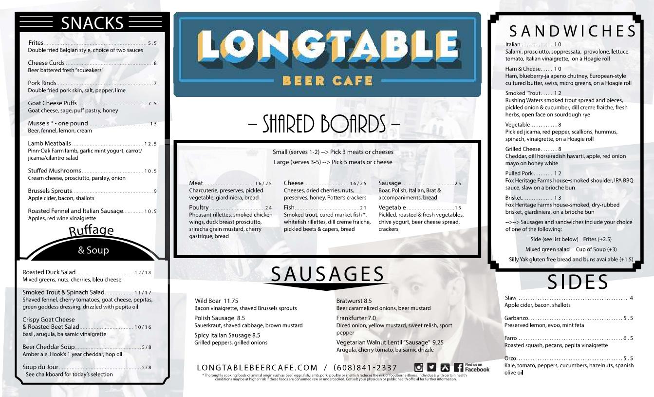 Longtable Beer Cafe Menu