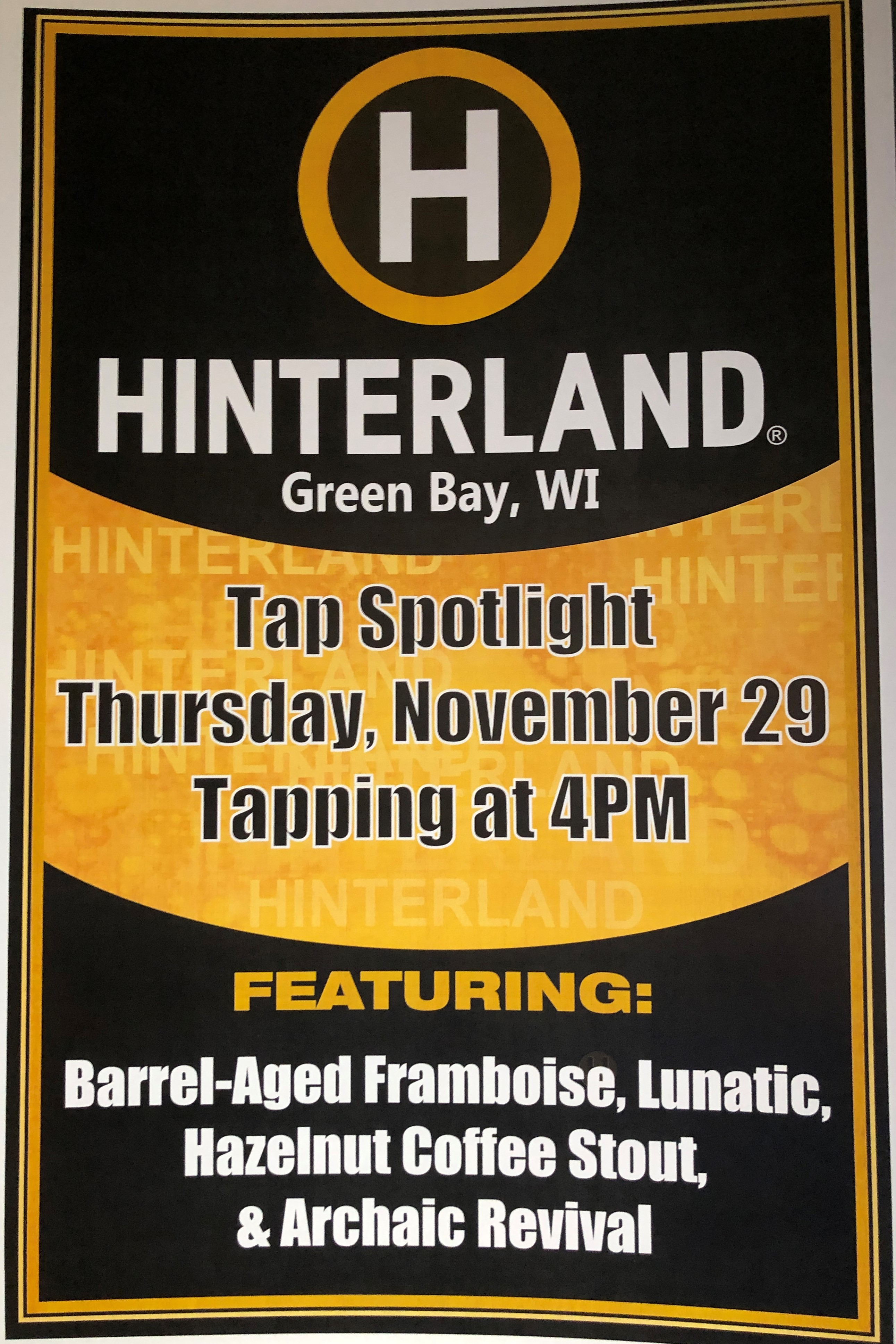 Hinterland Brewery Special Tappings